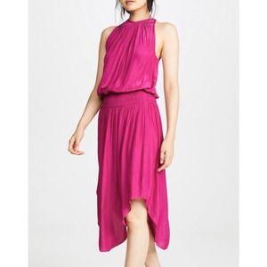 Ramy Brook Audrie Audrey Hot Pink Midi Dress M